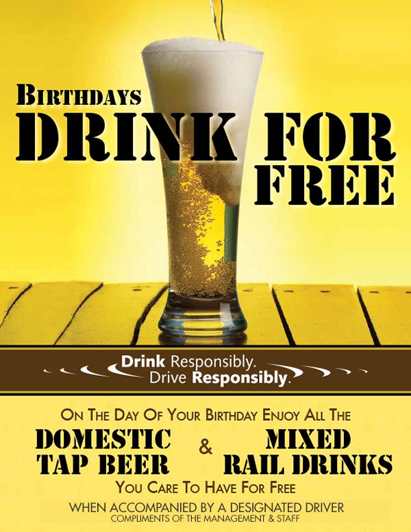Birthdays Drink For Free